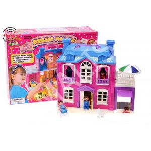 Domeček pro panenky s posuvnou garáží.