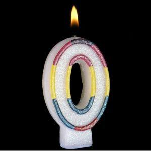 Narozeninová svíčka s perletí ve tvaru 0