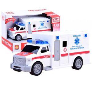 Pohotovostní sanitka rychlé pomoci - akce: pokrčená krabice